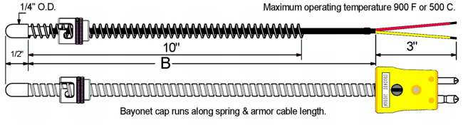 "1/4"" Adjustable Bayonet Style Thermocouple Diagram"