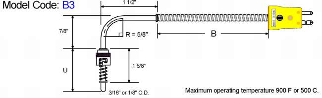 Fixed Bayonet Style Thermocouple. 90 Bend. Diagram