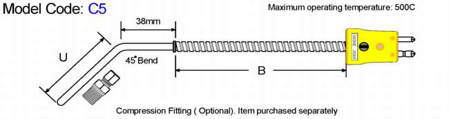 Metric General Purpose Thermocouple-45 Bend Diagram