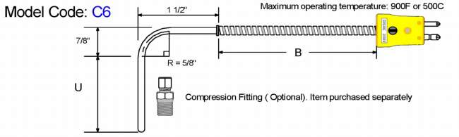 Metric General Purpose Thermocouple-90 Bend Diagram