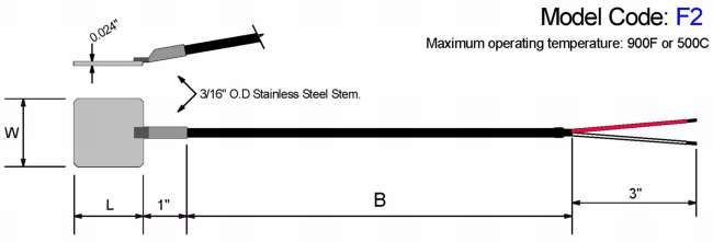 Shim Stock Style Thermocouple. Stainless Steel Shim Diagram