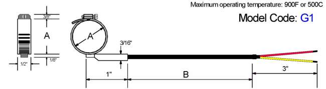 Pipe Clamp Style Thermocouple Diagram