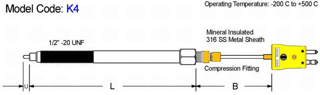 Adjustable Melt Bolt Thermocouple. Mineral Insulated Diagram