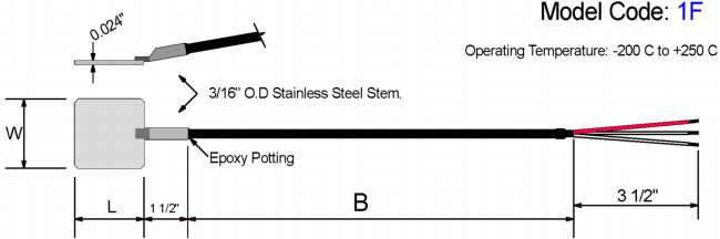Shim Stock Style RTD. Stainless Steel Shim Diagram