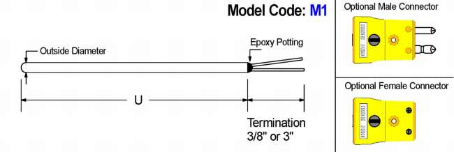 Straight Thermocouple Elements Diagram