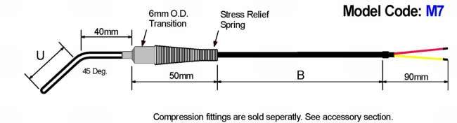 Metric General Purpose Thermocouple: 45 Deg. Bend Diagram