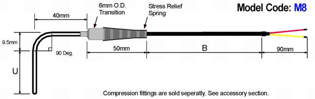 Metric General Purpose Thermocouple: 90 Deg. Bend Diagram