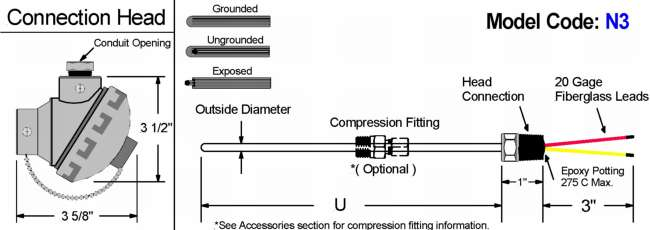 Compression fitting mounting style thermocouple online