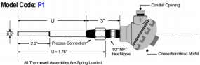 Standard Stepped Threaded Thermowell diagram