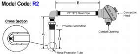 Base Metal Angle Thermocouple & Metal Protection Tube Assembly diagram