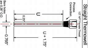 P-SERIES THERMOWELLS - Straight Thermowell diagram